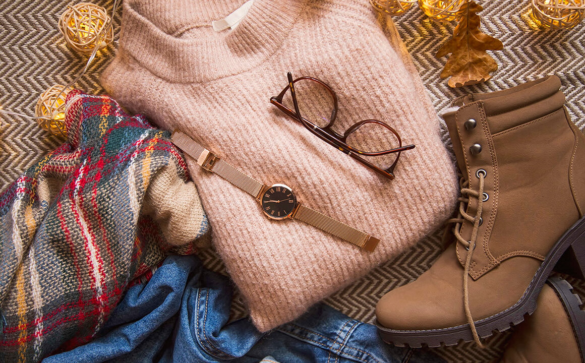 fall-fashion-guide-2020-edition-sweater-boots-watch-scarf-cute-fall-clothes-piled-up