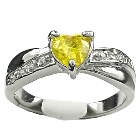 Yellow Diamante Love Heart Fashion Ring  Costume Jewellery Dress Rings Costume Jewellery Dress Rings  Fashion Women Girls Gift  Yellow Diamante  Love Heart Crossover Ring