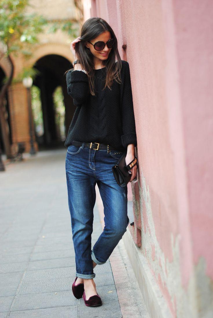 Winter Time Boyfriend Jeans Shoes