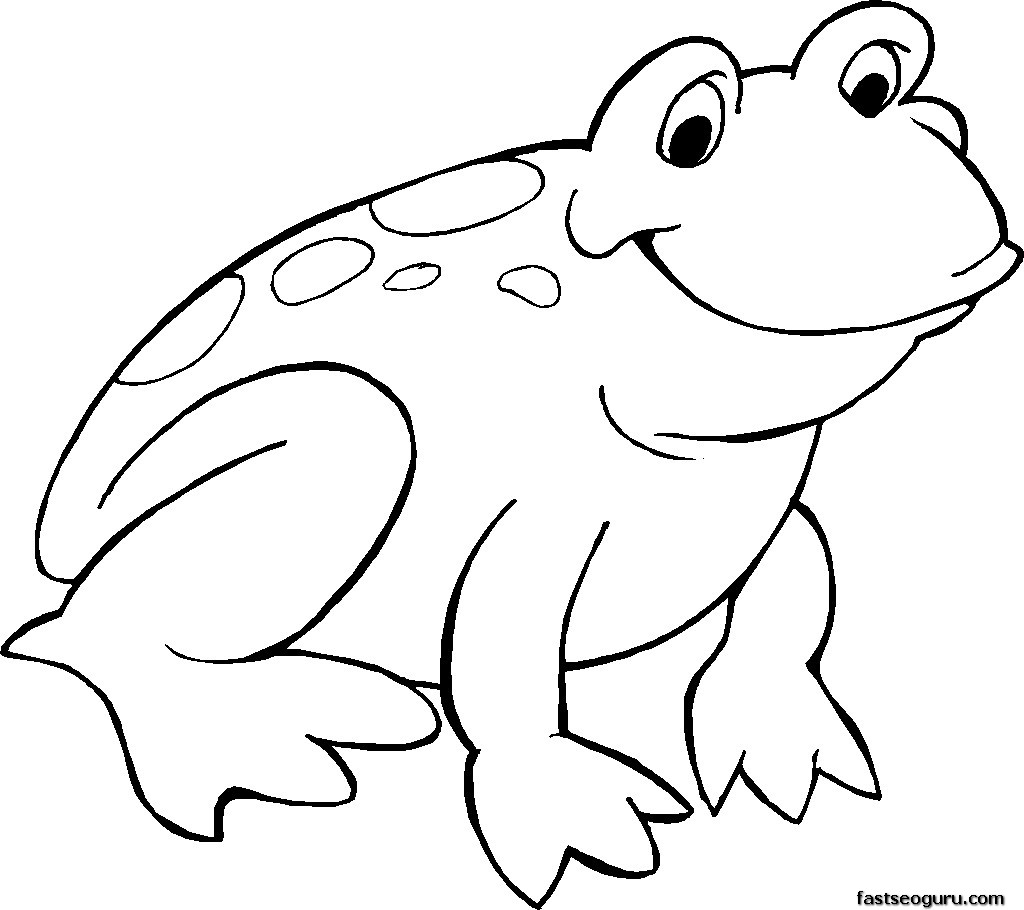 Free Printable Smiling Frog Coloring Page.