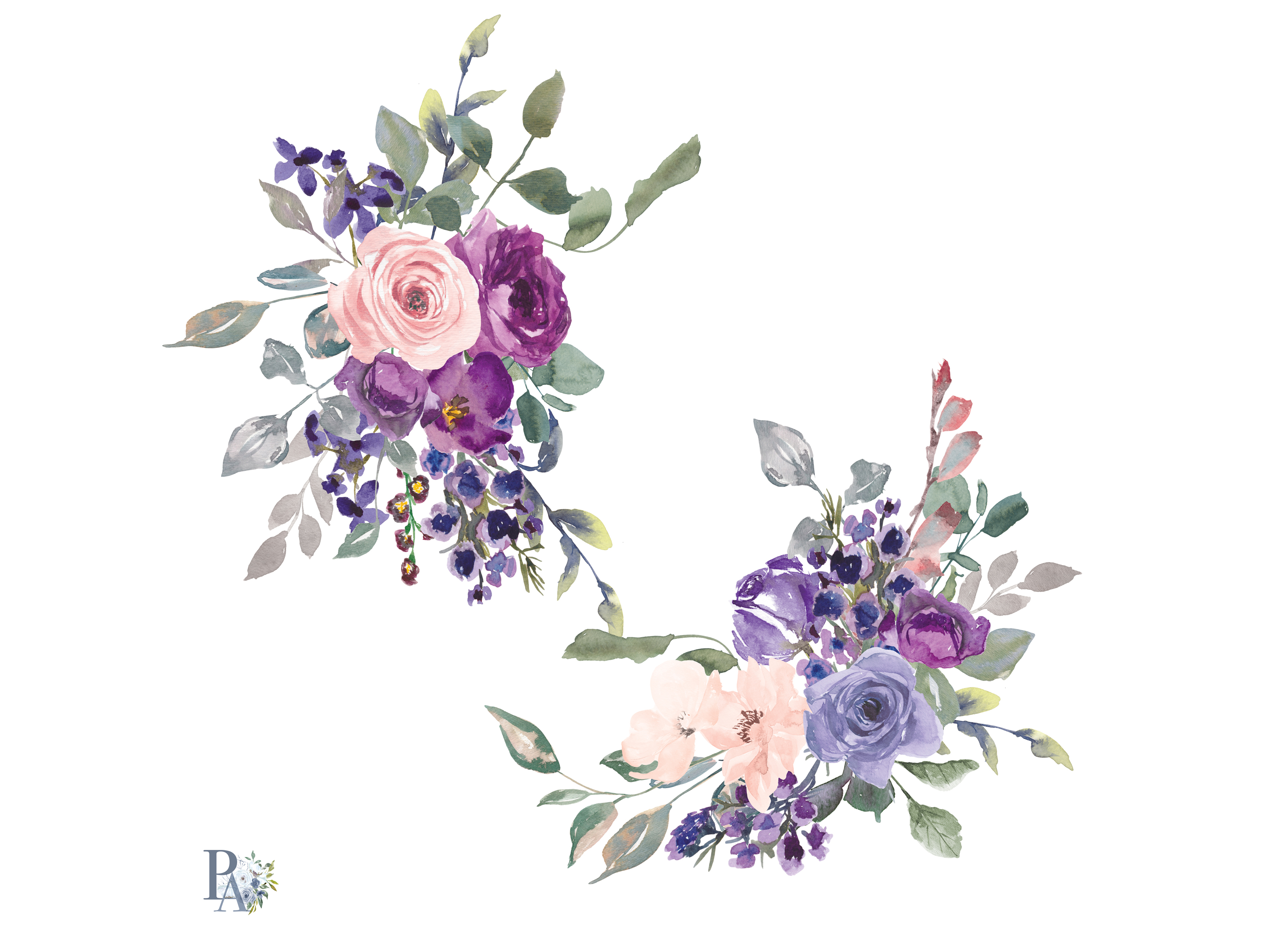Top Pink Floral Watercolor Border