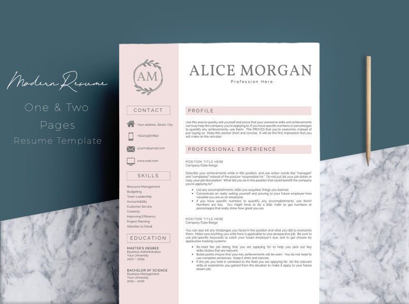 Professional Creative Resume Template     Design Bundles Professional Creative Resume Template   Alice Morgan example image 1