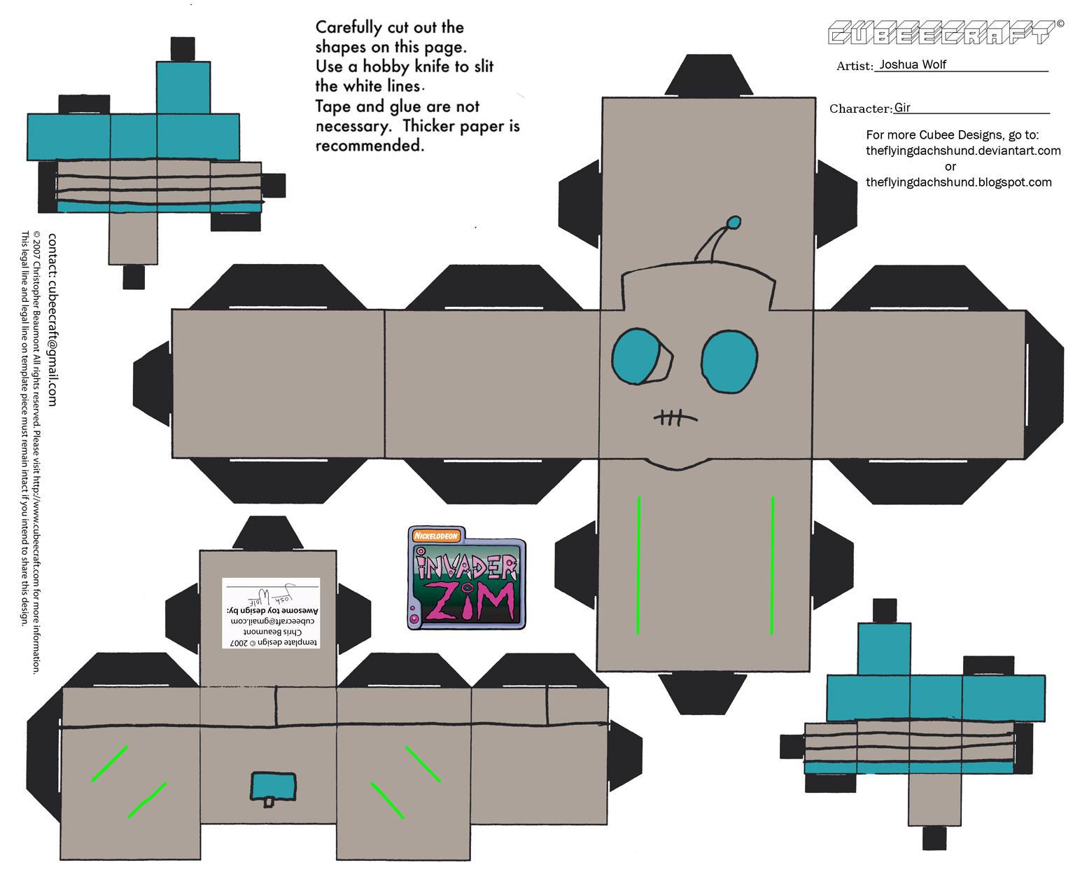 Invader Zim Gir Papercraft