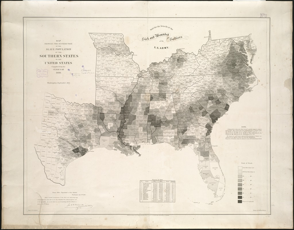 Map showing the distribution of the slave population of the southern     Map showing the distribution of the slave population of the southern states  of the United States