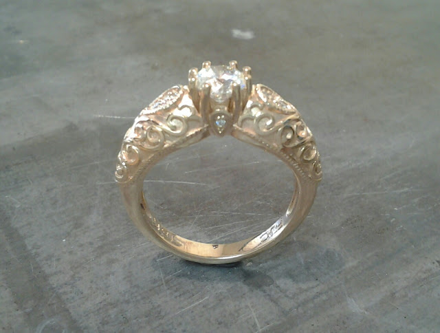 vintage victorian style gold princess ring with a cathedral setting and custom embellishments