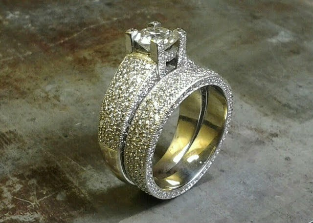custom engraved engagement ring with princess diamond in channel setting and matching wedding band