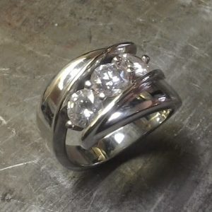 large 3 custom diamond ring