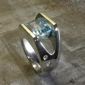 minimalist ring with large stone side view