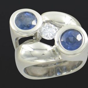 large white gold and double sapphire ring