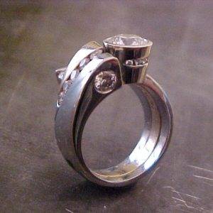 custom ring with diamonds and 14k white gold