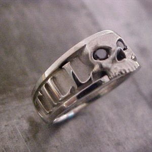 custom skull engraved wedding ring with black diamonds and monogram side view