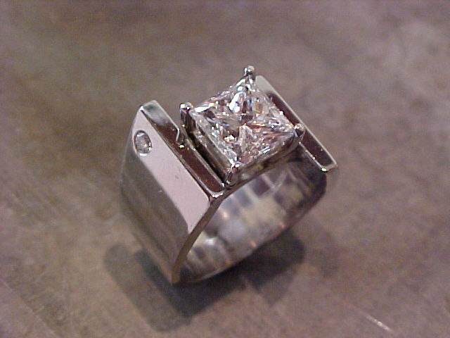 square white gold engagement ring