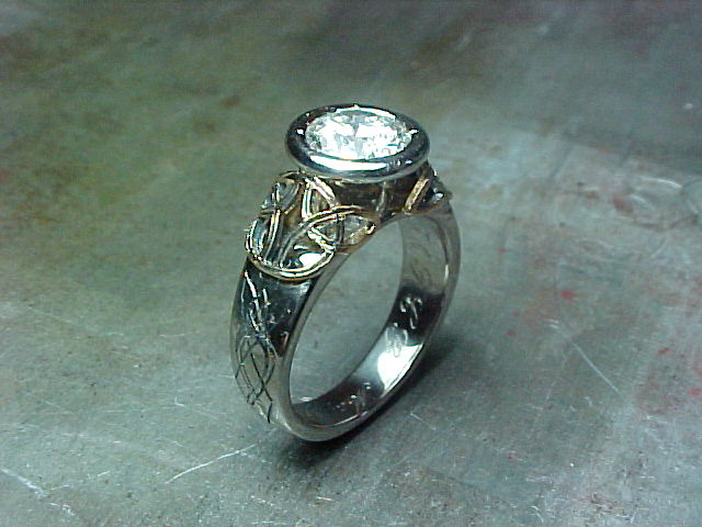 custom engagement ring celtic inspired with solitaire round diamond