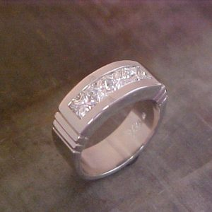 custom diamond cluster white gold wedding band
