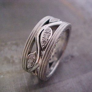 custom engraved white gold wedding band with vine design