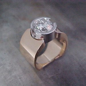 open bezel diamond engagement ring