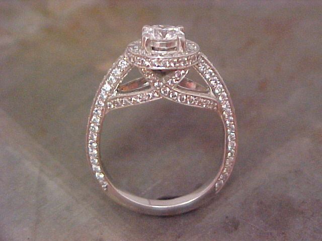 split diamond engagement band with princess cut center stone side view