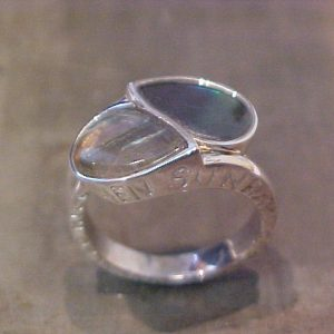 custom engraving and teardrop stone ring