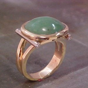 custom gold ring with large jade stone