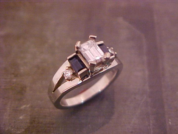 custom square cut diamond engagement ring with sapphire accents