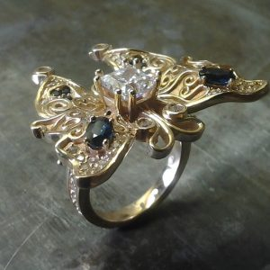 custom designed butterfly ring view 2