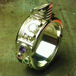 Star Wars inspired family ring with lightsaber stone setting