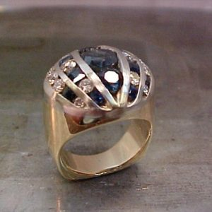 large ring with black and white diamonds