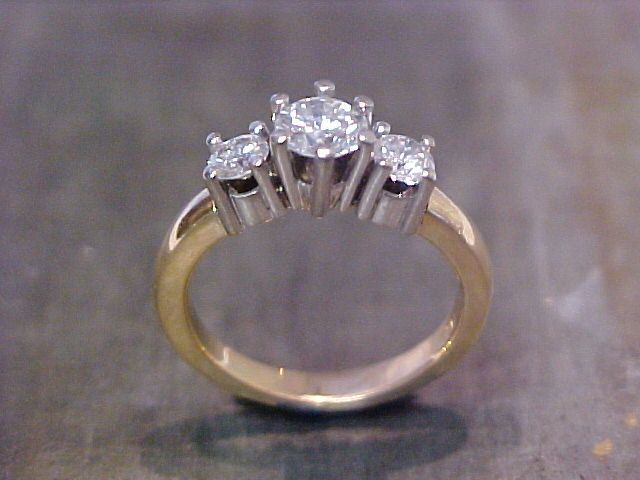 3 stone engagement ring two tone