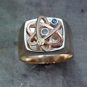 custom science and big bang theory inspired ring with birthstones