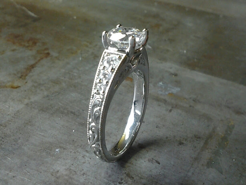 custom hand engraved engagement ring