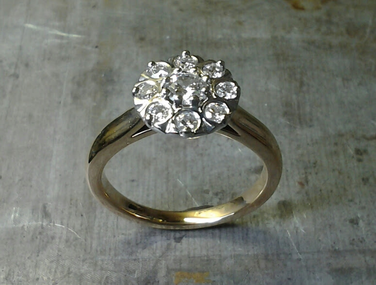 custom two tone halo engagement ring