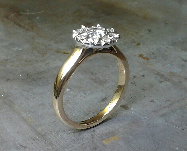 two tone detailed halo engagement ring