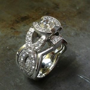 open bezel engagement ring set