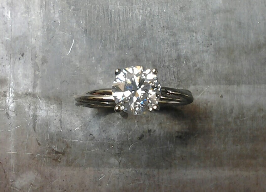 19k Custom Twist Diamond Solitaire Engagement ring