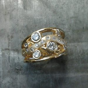 Custom Bezel gypsy set multi-ring yellow gold
