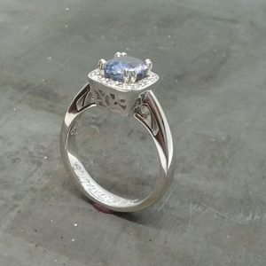 Light Blue sapphire and diamond 19k
