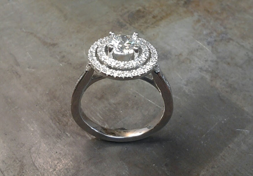 Double halo 19k white gold engagement ring side view