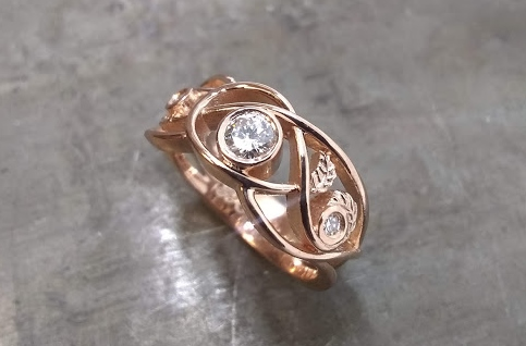 Celtic inspired gold wedding ring