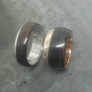 white gold and rose gold iron wood wedding bands