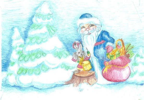 Примеры новогодних рисунков красками