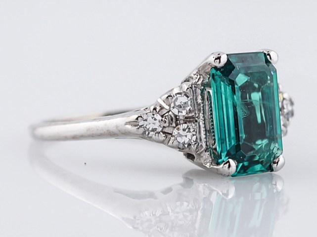 Antique Engagement Ring Art Deco 1 40 Emerald Cut Emerald in 14k     Antique Engagement Ring Art Deco 1 40 Emerald Cut Emerald in 14k White Gold