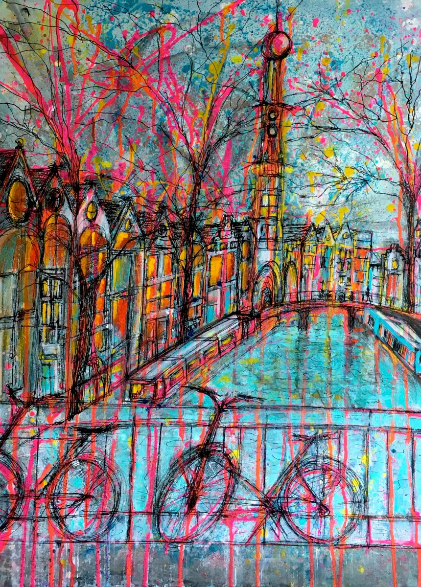 On the streets of Amsterdam 60x80cm canvas, acrylics-SOLD