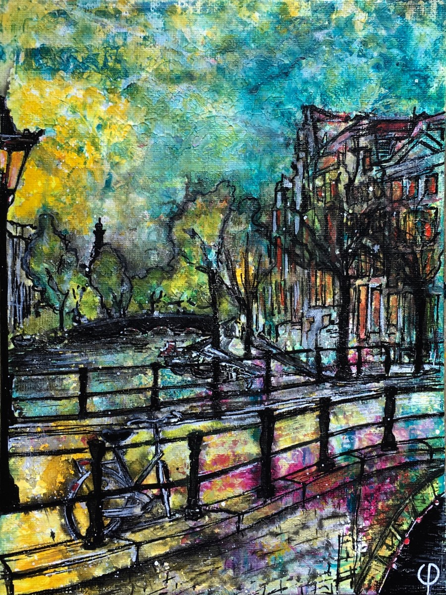 When it gets dark in Amsterdam 18x24cm canvas board, acrylics
