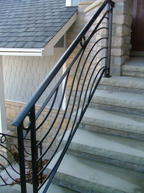 Exterior Contemporary Railings Finelli Ironworks | Modern Iron Stair Railing | Handrail | Before And After | Glass | Ornamental | Elegant