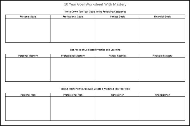 High School Goal Setting Worksheets