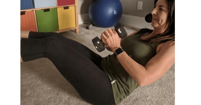 Stephanie doing 30 day fitness challenge exercises