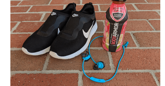 items to take with you walking for weight loss plan are walking shoes, bose earbuds and bodyarmor sports drink