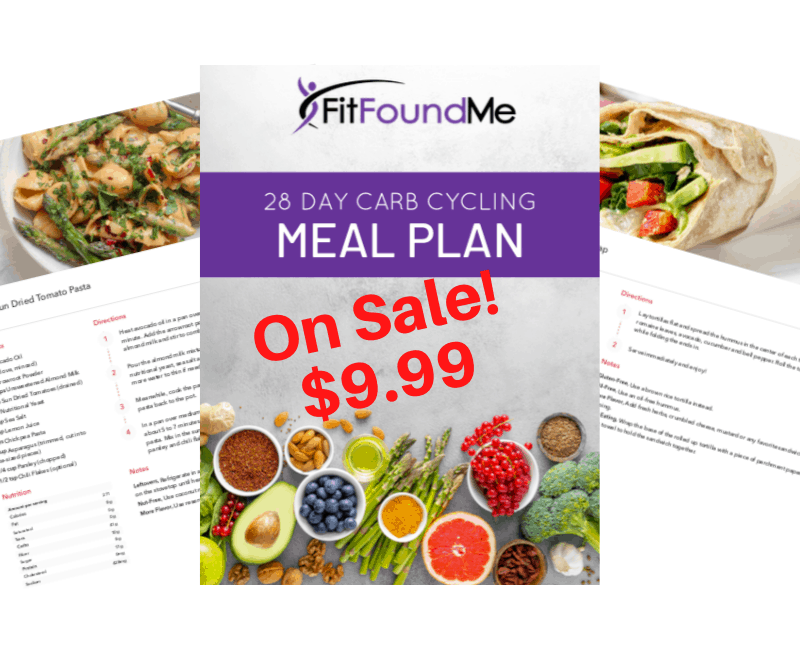 cover of 28 day carb cycling meal plan recipe book with color pictures of recipes