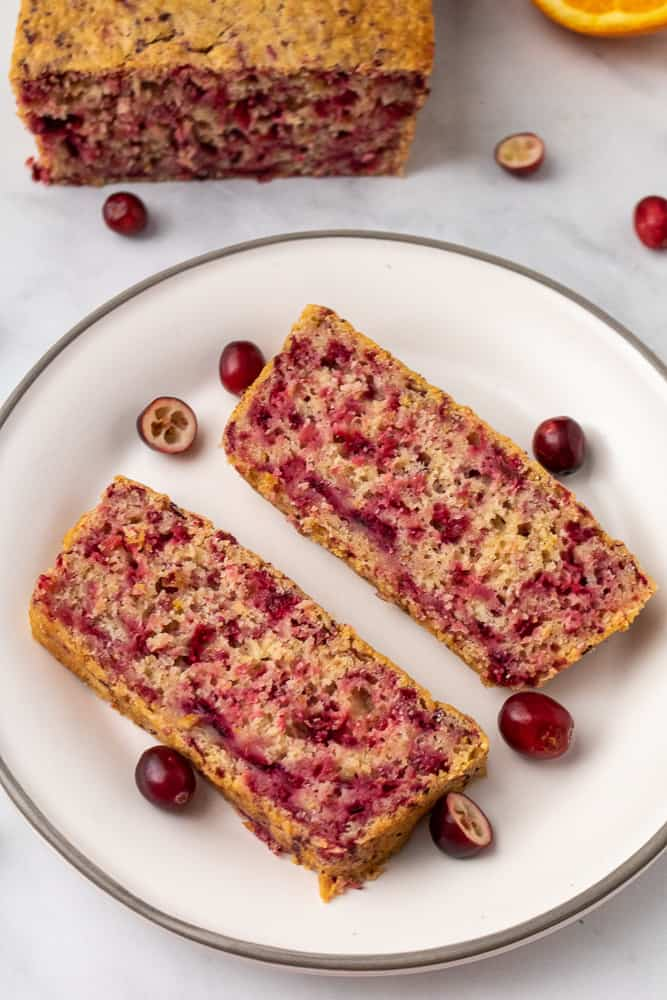 fresh baked cranberry bread sliced