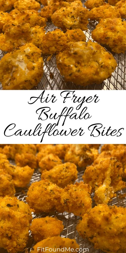 air fryer buffalo cauliflower bites on cooking rack